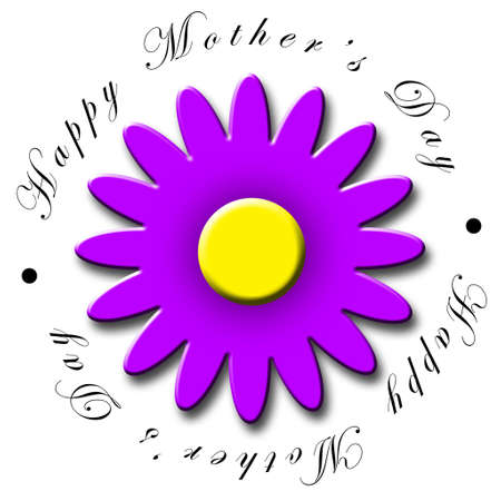 An illustrated Mother's Day icon with a pretty purple flower Banco de Imagens