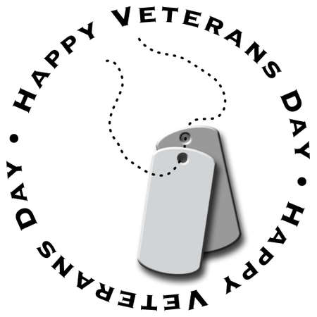 An illustrated Veteran's Day icon featuring dog tags Banco de Imagens