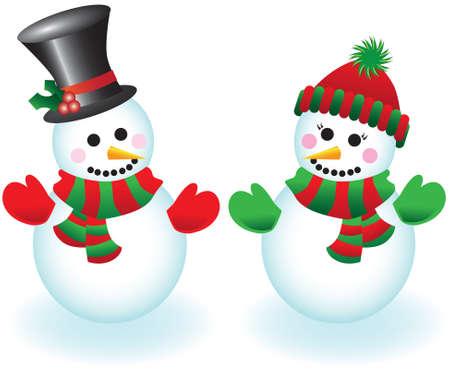 sciarpe: Illustrazione vettoriale di un pupazzo felice e snowlady indossando cappelli, sciarpe e muffole