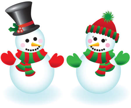 scarves: Vector illustration of a happy snowman and snowlady wearing hats, mittens and scarves