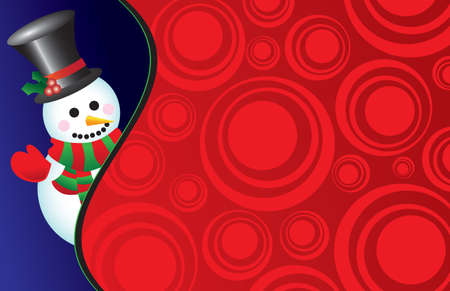 Vector illustration of a happy snowman wearing a hat, mittens and a scarf on a retro red background - perfect for a card or invitation