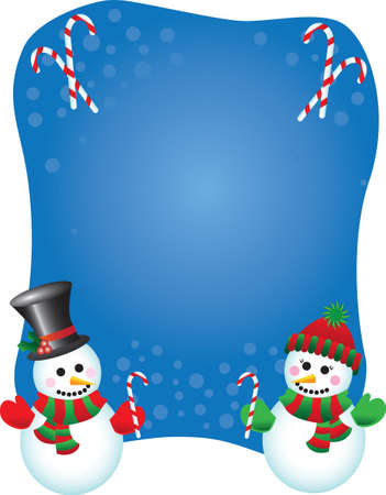 Vector illustration of a happy snowman and snowlady wearing hats, mittens and scarves on a festive background Ilustração