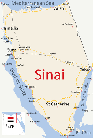 peninsula: Map of Sinai Peninsula English Road Map