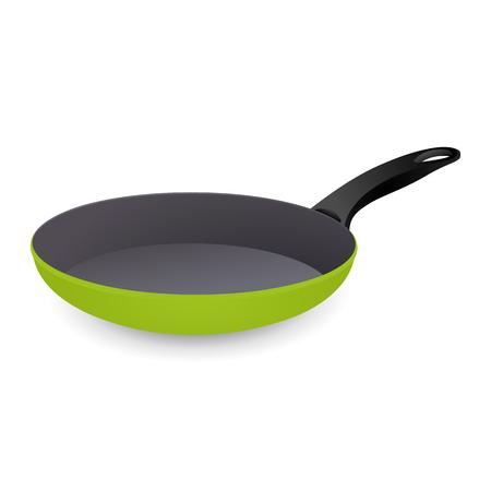 Frying Pan Colorful Green. Vector