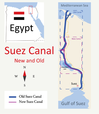 waterway: Map of Suez Canal New and Old