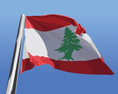 Flag of Lebanon Realistic. fly on blue Sky Vector Illustration