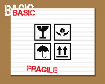 basic care: Basic Fragile Symbols Icons