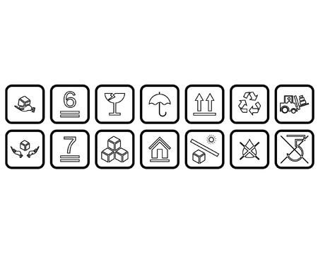 Thin Grey Fragile Sticker Symbols Outline Icon on White Background