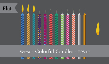 Set of Flat Colorful Candles with Flame EPS 10