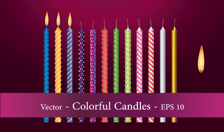 Set of Colorful Candles with Flame EPS 10