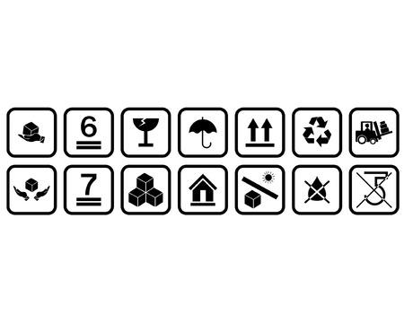 Black Fragile Sticker Symbols Icon on White Background Vettoriali