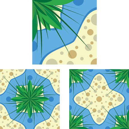 Tile pattern seamless texture. Island lake with leaves and sand Vettoriali