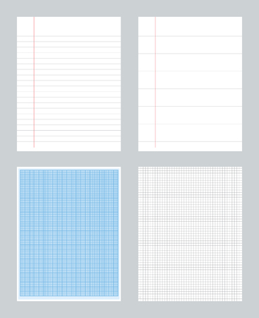 Set of notebook papers patterns with lines. millimeter - ruled -  squared Vettoriali