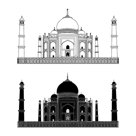 uttar: Taj Mahal. India. Outline and Silhouette. Vector. Very High Detail