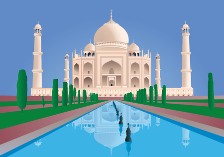 Scene  Taj Mahal. India. from the front. Vector. Very High Detail Vettoriali