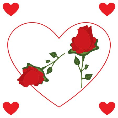 Red Rose Flower with Heart On White Background 矢量图像
