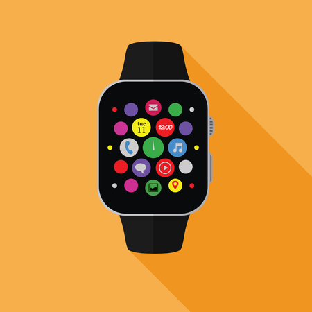 Smart watch with app icons, flat concept with long shadow 矢量图像