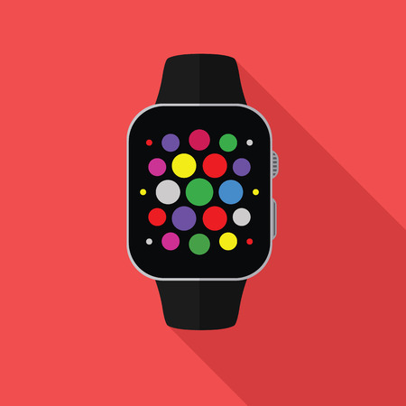 Smart watch, flat concept with long shadow