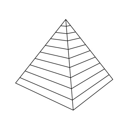Vector Pyramid. Egypt - Line drawing - On White Background