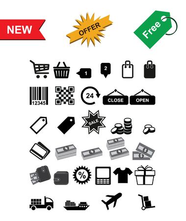 Set of Shopping Icons. Vector on white Background