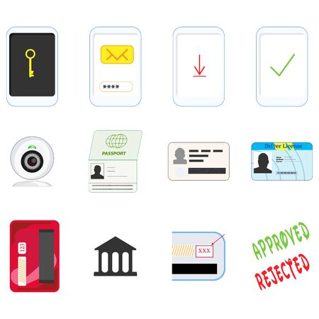 Icons for steps to verify the identity and credit card