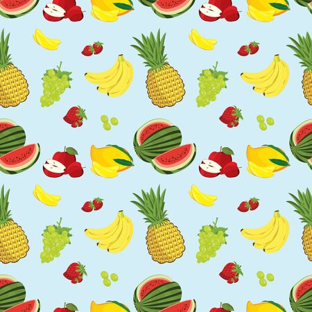 Seamless pattern fruits background with banana, Strawberries, watermelon, mango, grape, apple and pineapple Vettoriali