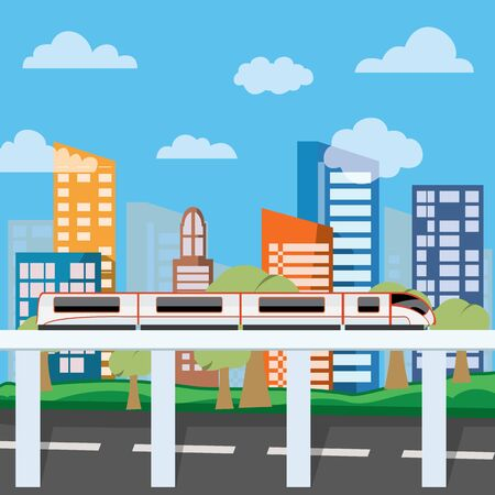 Smart City Concept Vector Illustration Colorful Urban Landscape