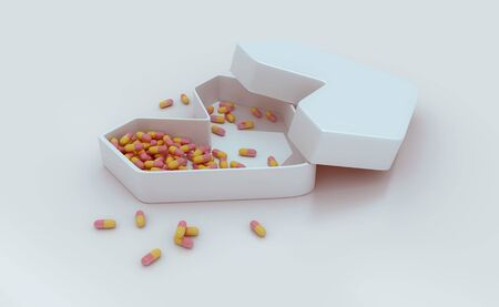 Heart-shaped medicine box with scattered capsules. 3D Rendering