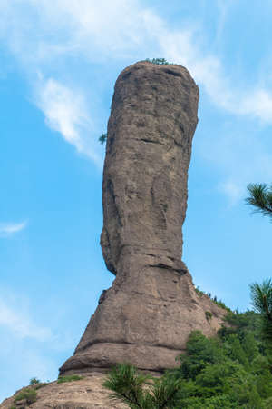 scenic spots: Sledge-Hammer Peak, The unique stone column in the word. Famous scenic spots in Chengde City of China Stock Photo
