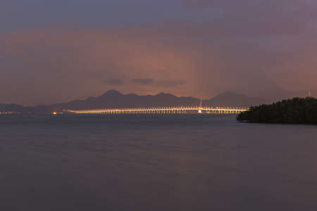 dragline: shenzhen bridge, night scape Stock Photo