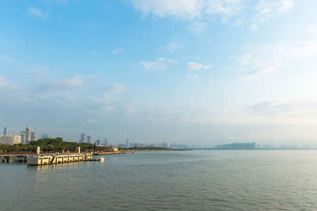seaboard: shenzhen bay park, blue sky and white clouds Stock Photo