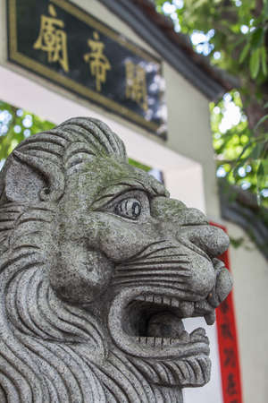 distinctly: stone Lion, in front of Guan Yu Temple, nantou shenzhen