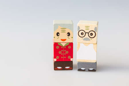 wooden doll: Wooden doll of elderly couple Stock Photo
