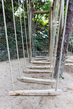 rope bridge: wooden rope bridge