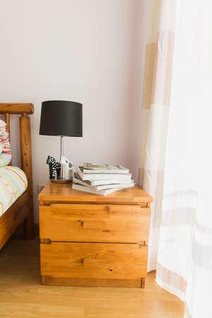 bedside: bedside table