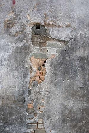 damaged: stucco wall damaged