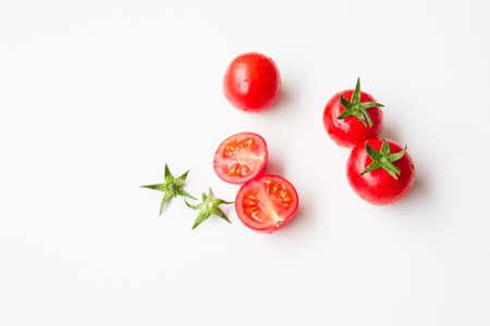 sudio: Cherry tomatoes on white background Stock Photo