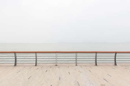 guard rail: guard rail by the sea Stock Photo