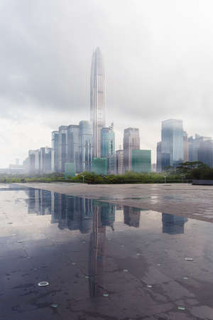 urban scene: Urban scene of Shenzhen. Shenzhen civic center square. Editorial