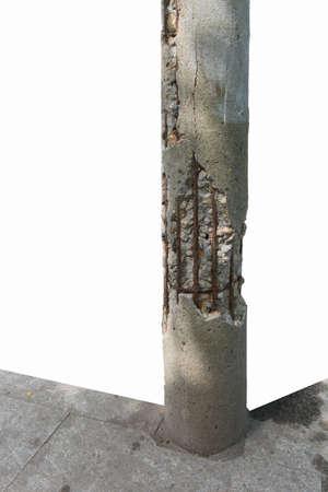 damaged: damaged Concrete Poles Stock Photo