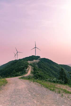 mountaintop: wind turbine on mountaintop
