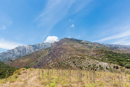 corsica: mountain and sky,scenic of Corsica Stock Photo