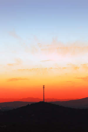 repeater tower at sunset Stock Photo