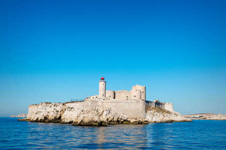 monte cristo: view of Chateau dIf, famous prison mentioned in Dumas Monte Cristo novel, Marseille, France Editorial