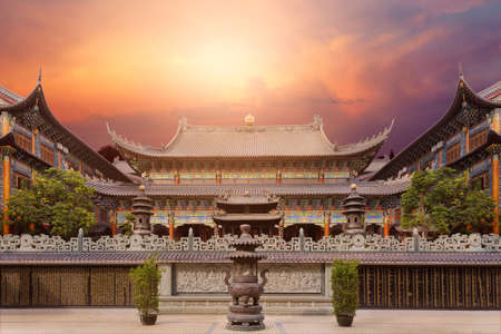 upturned: Dongshan temple, ancient temple located in Dapeng district of Shenzhen city. Stock Photo