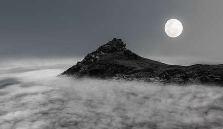 mountain and clouds at night.