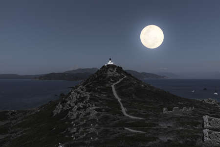 night view of sanguinaires islands. Isles Sanguinaires, small archipelago near Ajaccio, Corsica, France Standard-Bild