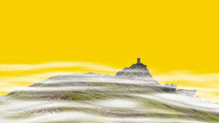 Headland Pointe de la Parata with the extant Genoese tower. The island which is situated near the Isles Sanguinaires was cut out on yellow background. Stock Photo