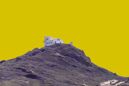 Isles Sanguinaires was cut out on yellow background. The island located near Ajaccio, corsica, France.