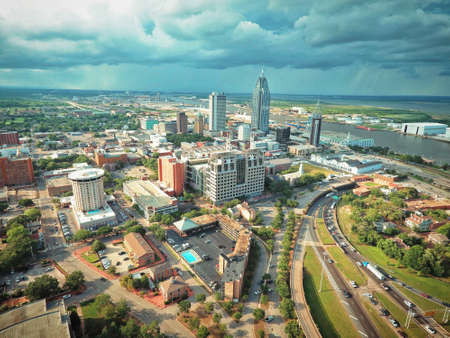 Aerial shot of downtown Mobile during summer storm